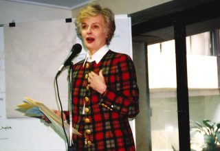 2006 - New Patron Quentin Bryce on stage giving a speech.