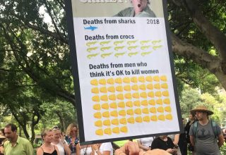 2008 - A violence against women poster being held up at a protest march.