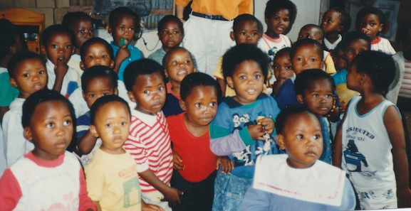 A group of indigenous children at preschool in the Capetown township