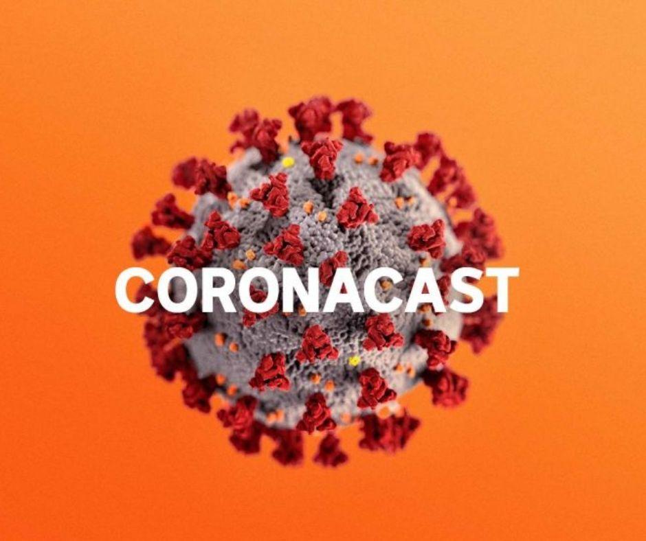 Picture of the virus with CoronaCast written over the top