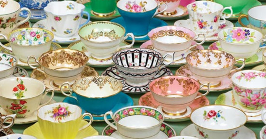 10 or so tea cups or various sizes and patterns
