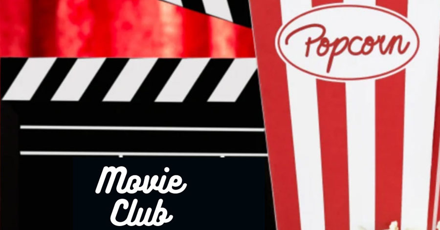 "A box of pop corn next to a movie directors clapperboard with the words ""Movie Club"""